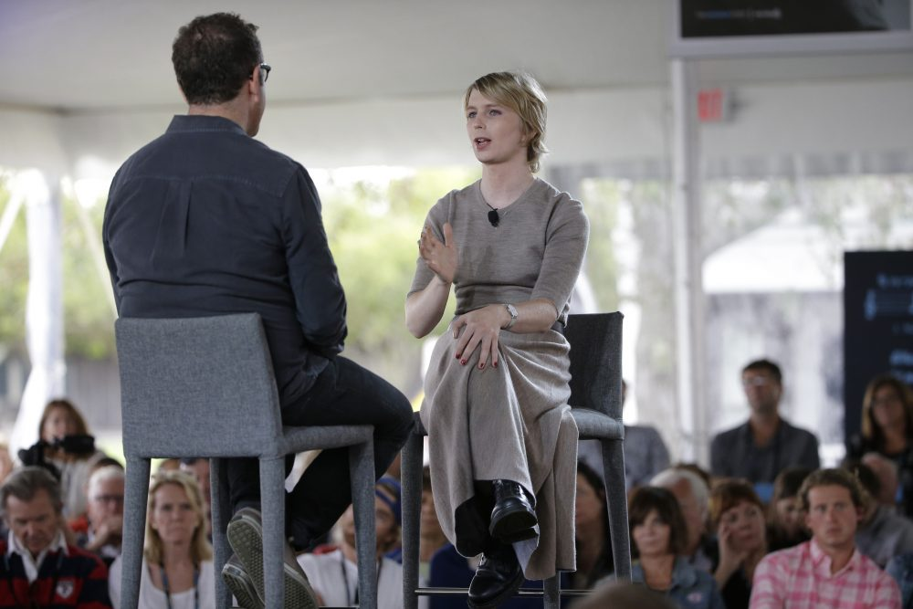 Chelsea Manning, right, is interviewed by filmmaker Eugene Jarecki, left, Sunday, Sept. 17, 2017, during a forum, in Nantucket, Mass. The forum is part of The Nantucket Project's annual gathering on the island of Nantucket. Manning is a former U.S. Army intelligence analyst who spent time in prison for sharing classified documents. (Steven Senne/AP)