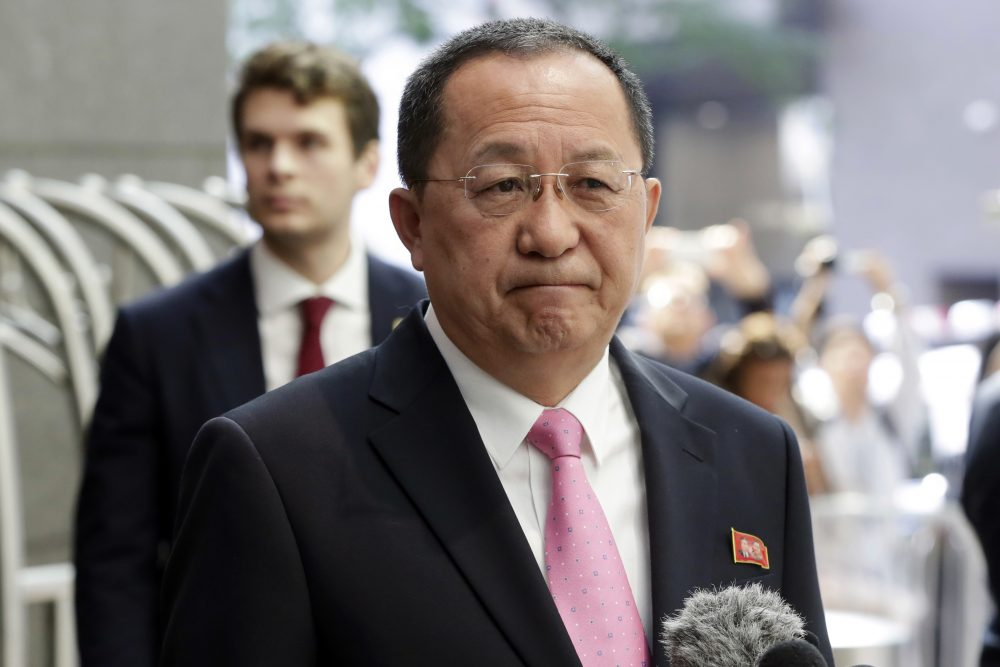 North Korea's Foreign Minister Ri Yong Ho speaks outside the U.N. Plaza Hotel, in New York, Monday, Sept. 25, 2017. (Richard Drew/AP)