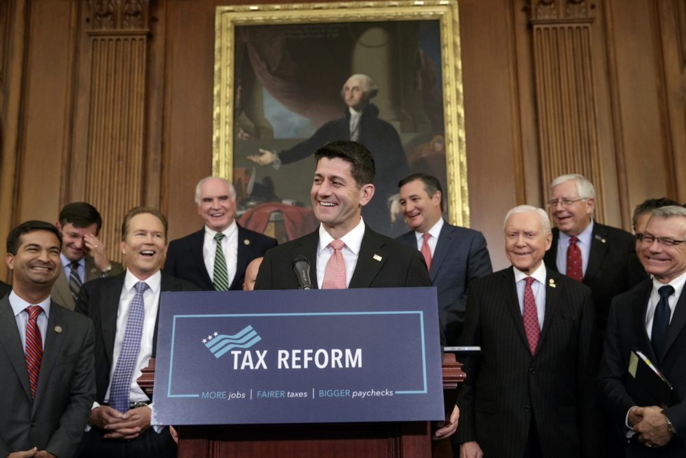 Speaker of the House Paul Ryan, R-Wis., smiles as he talks about the Republicans' proposed rewrite of the tax code for individuals and corporations, at the Capitol in Washington, Wednesday, Sept. 27, 2017. President Donald Trump and congressional Republicans are writing a far-reaching, $5-trillion plan they say would simplify the tax system and nearly double the standard deduction used by most Americans. (J. Scott Applewhite/AP)