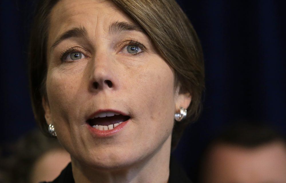 Massachusetts Attorney General Maura Healey takes questions from reporters during a January news conference. (Steven Senne/AP)