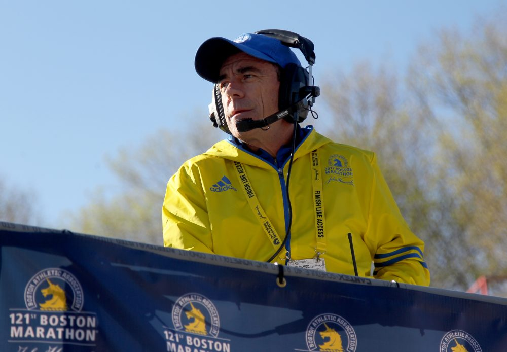 Race director Dave McGillivray is seen at the start of 2017 Boston Marathon. (Mary Schwalm/AP)