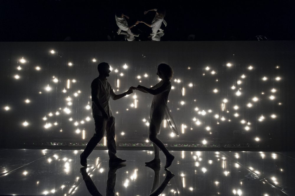 "Nael Nacer and Marianna Bassham  in ""Constellations"" at Central Square Theater. (Courtesy of A.R. Sinclair/Central Square Theater)"