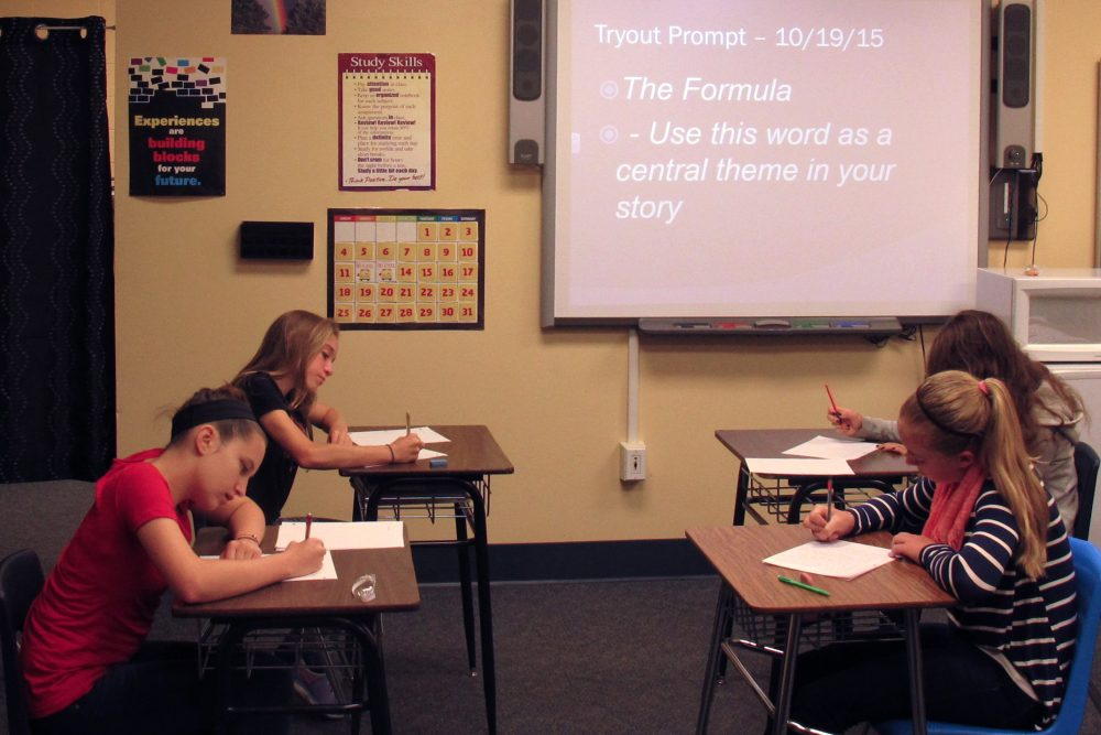 At Power of the Pen competitions, middle schoolers are given a prompt and 40 minutes to write a short story.  (Martin Kessler/Only A Game)