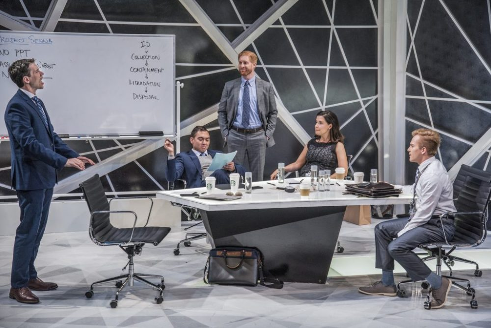 "The ensemble of ""Ideation."" (Courtesy Andrew Brilliant/New Repertory Theatre)"