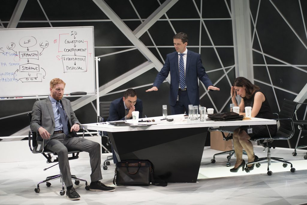 "From left, Ed Hoopman, Matt Ketai, Lewis D. Wheeler and Christina Hamel in ""Ideation."" (Courtesy Andrew Brilliant/New Repertory Theatre)"