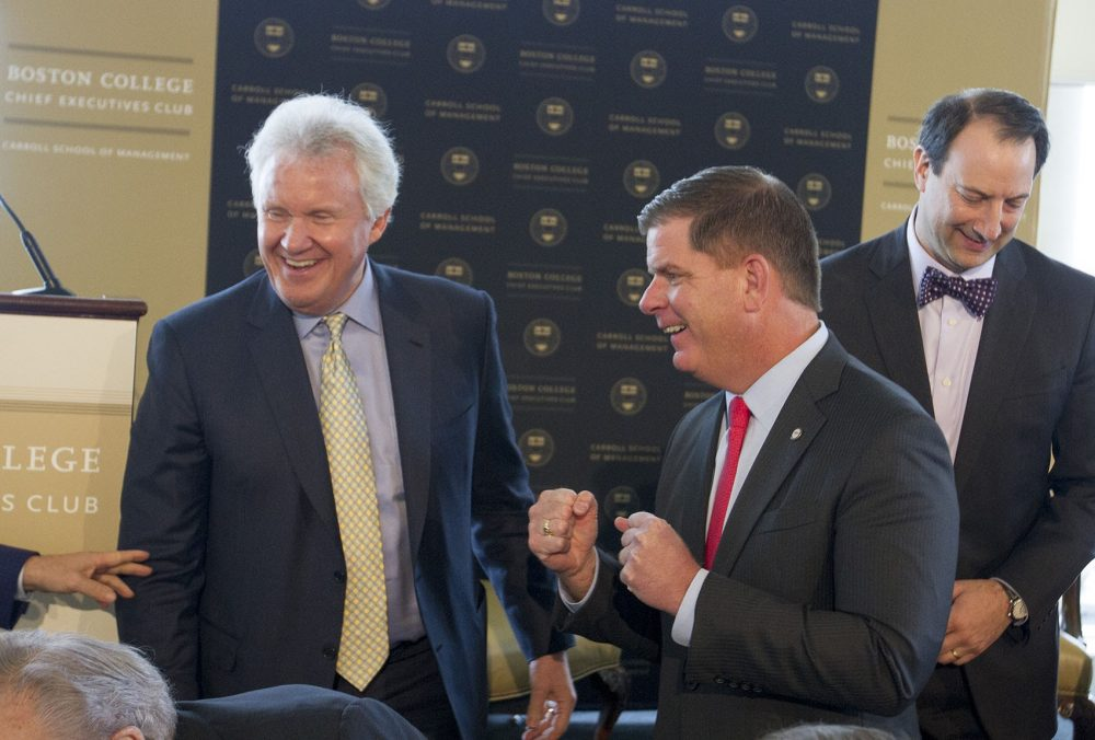 Former GE chairman and CEO Jeff Immelt and Mayor Marty Walsh. (Joe Difazio for WBUR)