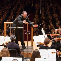 """Andris Nelsons conducts the Boston Symphony Orchestra in """"Symphonic Dances from 'West Side Story' """" in its first concert of the 2017-'18 season. (Courtesy of Michael Blanchard)"""
