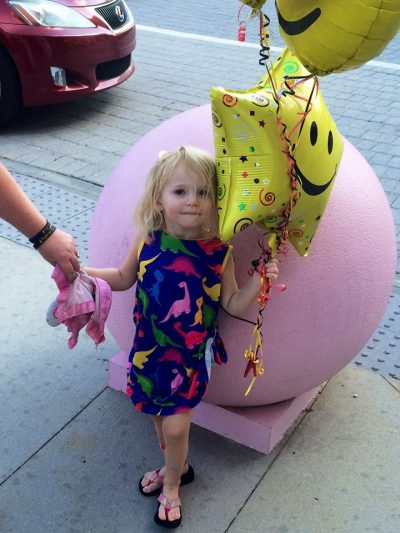 After 13 days in the hospital, Willow headed home, balloons in tow. (Courtesy of Jennifer Newman)