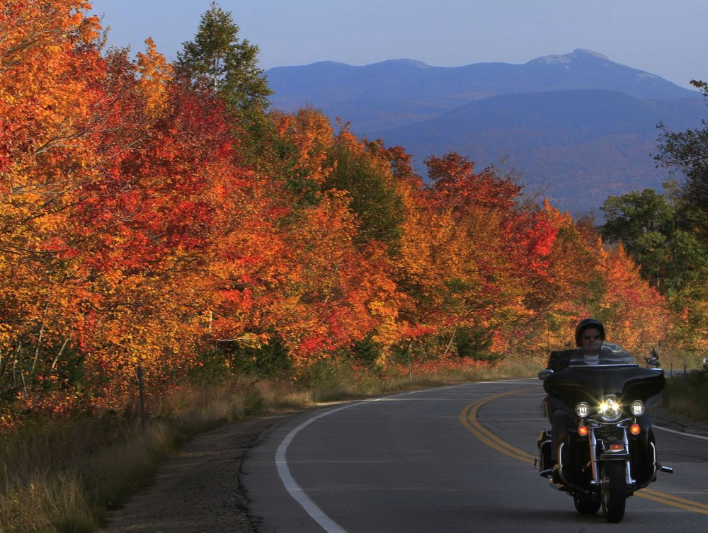 Peak colors are seen along the Kancamagus Highway in Albany, N.H., in October 2012. (Jim Cole/AP)