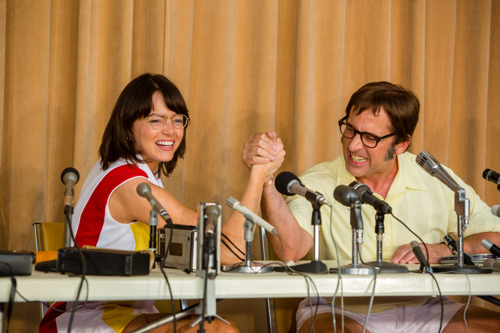 "Emma Stone and Steve Carell in the film ""Battle of the Sexes."" (Courtesy Melinda Sue Gordon/Twentieth Century Fox Film Corporation)"