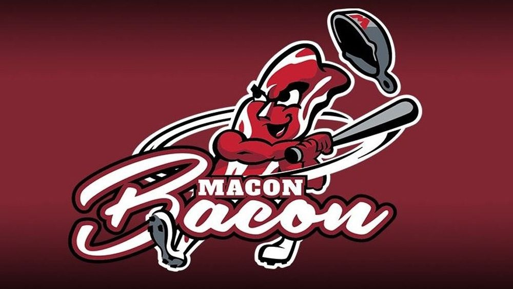 The Macon Bacon's new logo is a strip of bacon swinging a bat. Go figure.