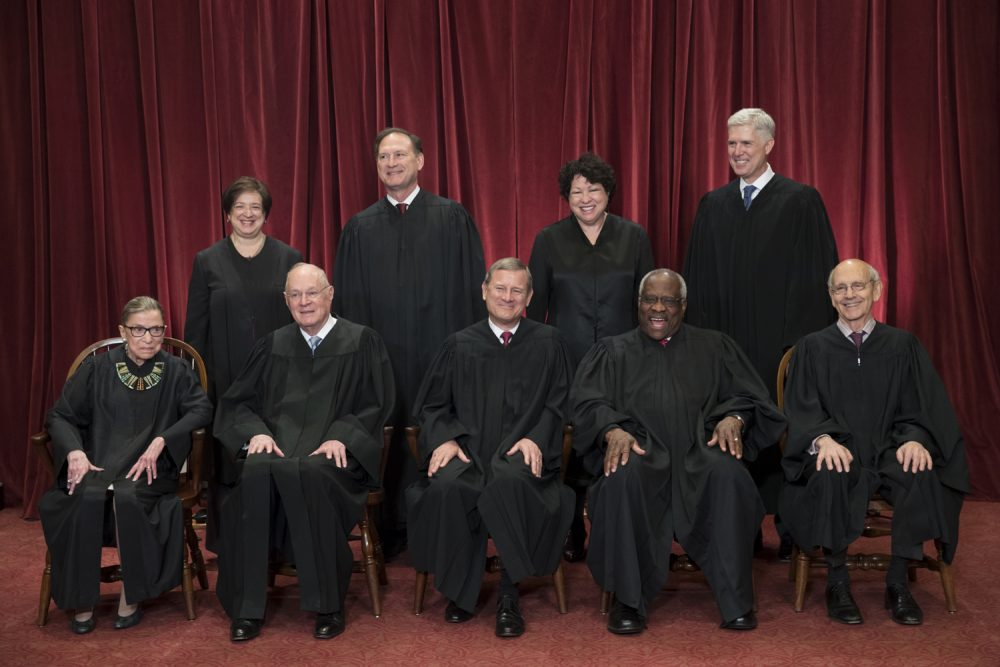 In this June 1, 2017 file photo, the justices of the U.S. Supreme Court gather for an official group portrait. (J. Scott Applewhite/AP)