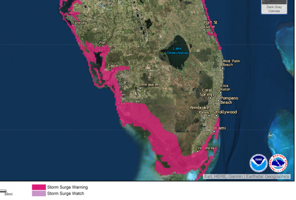 Surge warnings are posted for much of the Florida coast, especially the west. (Courtesy NOAA)