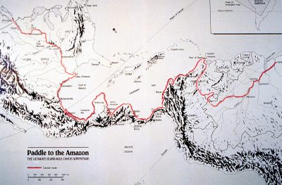 "A map of the route from the ""Paddle to the Amazon"" book. (McClelland and Stewart, 1987)"