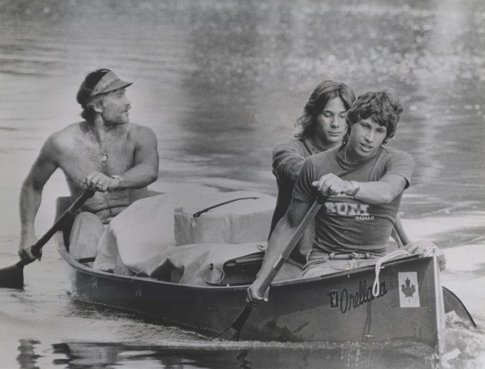Don (left), Jeff (center) and Dana Starkell, pictured here leaving Grand Forks, North Dakota, on the Red River, left Winnipeg in hopes of paddling all the way to the Amazon River. (The Grand Forks Herald)