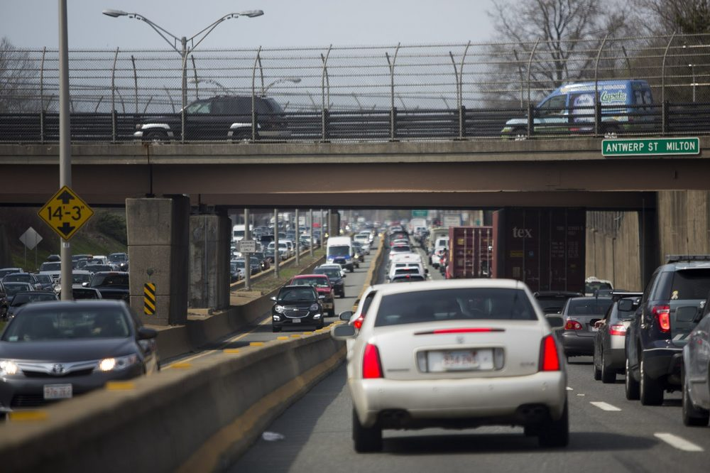 Gridlock on the Southeast Expressway in Milton. (Jesse Costa/WBUR)