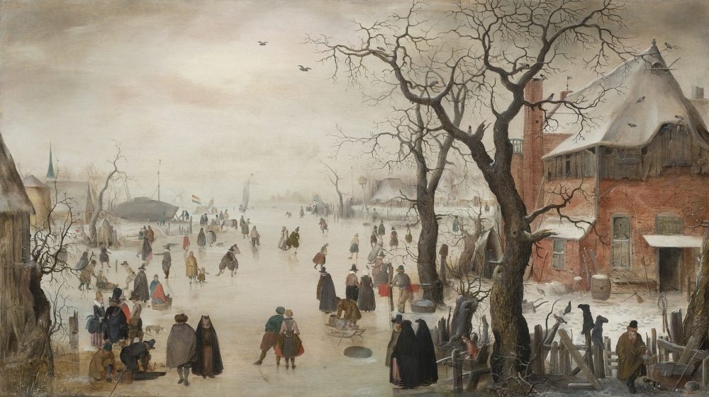 "Hendrick Avercamp's ""Winter Landscape near a Village,"" painted around 1610-1615. (Courtesy Rose-Marie and Eijk van Otterloo Collection/Museum of Fine Arts)"