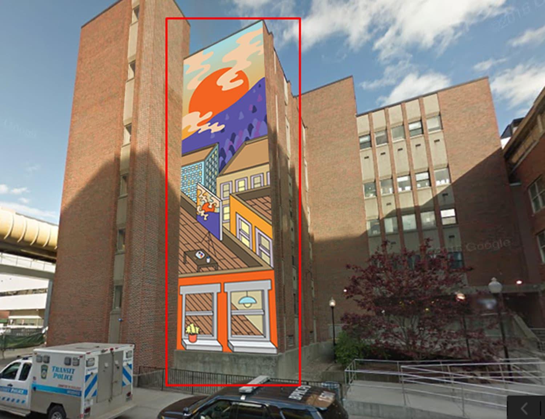 Tim McCool's sketch for his sunrise mural at 774 Albany St., Boston. (Courtesy Tim McCool)