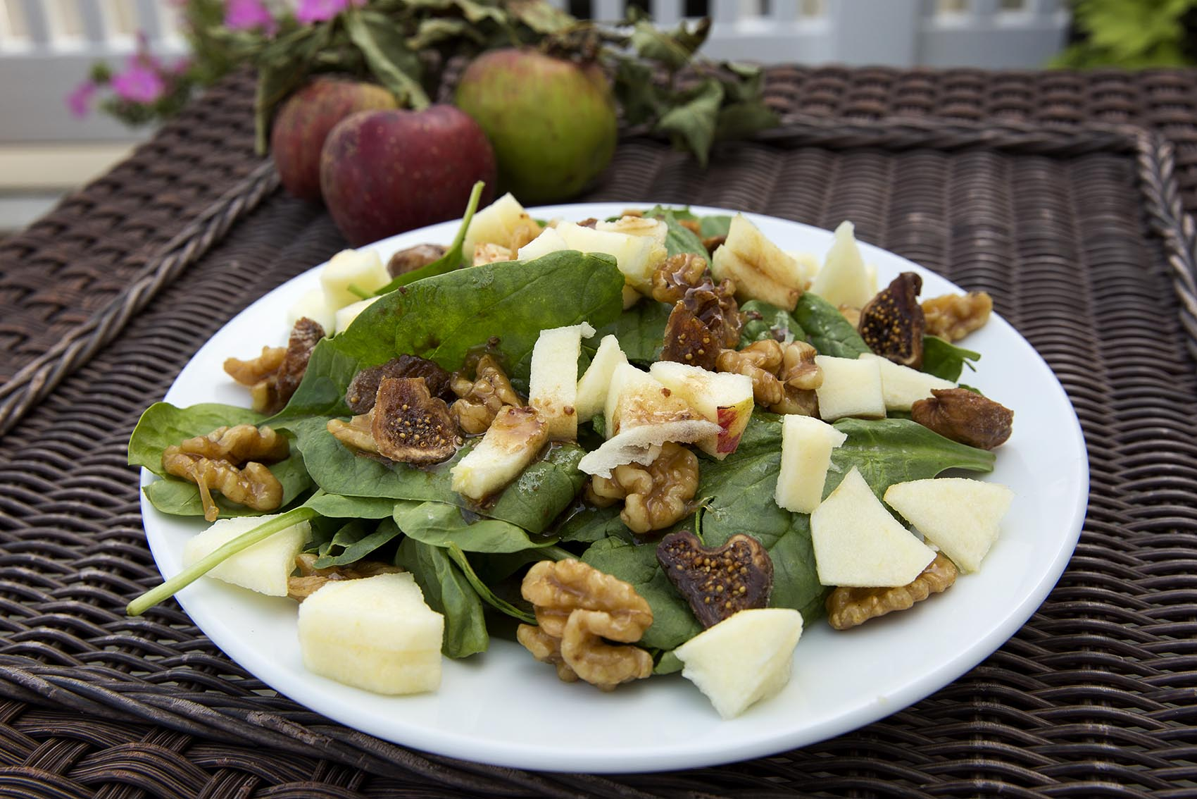 Kathy's salad with apple and caramelized walnuts. (Robin Lubbock/WBUR)