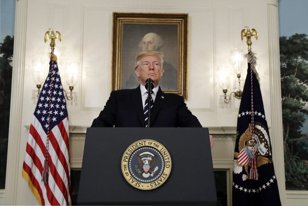 President Donald Trump makes a statement about the mass shooting in Las Vegas on Monday at the White House. (Evan Vucci/AP)