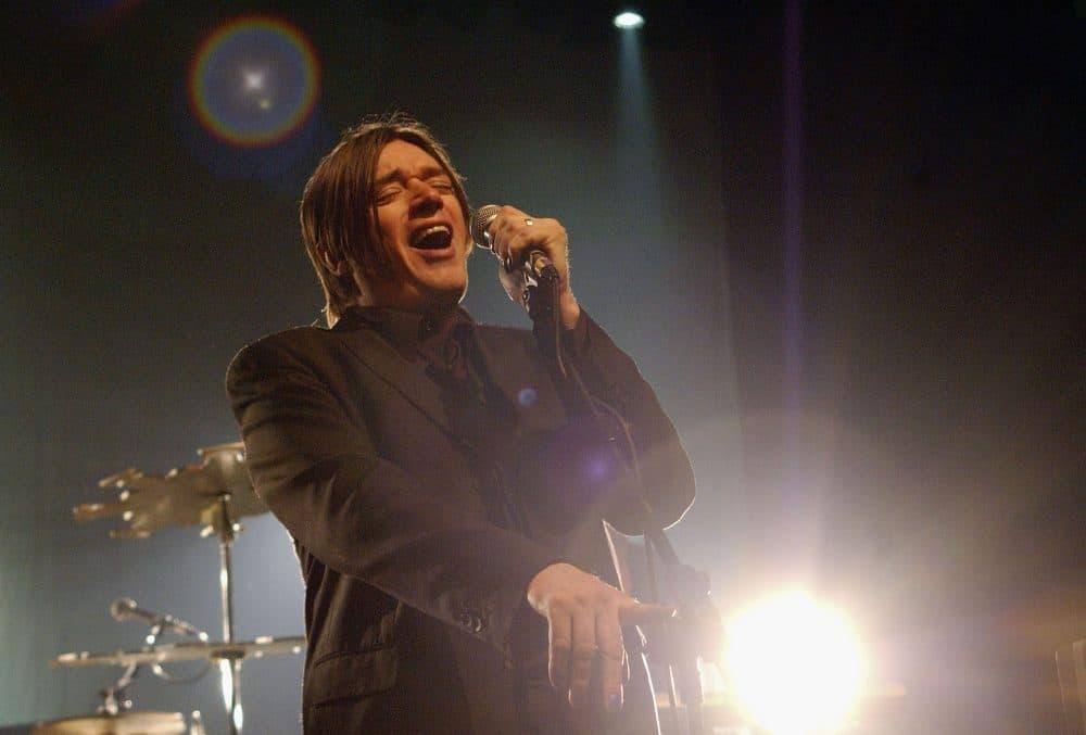Blixa Bargeld of Einsturzende Neubauten performs at the Kentish Town Forum on April 5, 2005 in London. (Jim Dyson/Getty Images)
