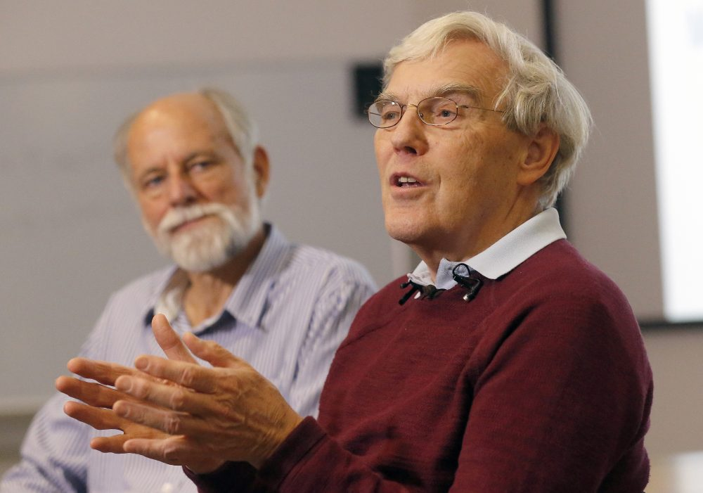 Richard Henderson, one of the 2017 Nobel Prize winners in Chemistry, speaks during a press conference beside director Sir Hugh Pellham at the Laboratory of Molecular Biology in Cambridge, England, Wednesday, Oct. 4, 2017. Three researchers based in the U.S., U.K. and Switzerland won the Nobel Prize in Chemistry on Wednesday for developments in electron microscopy. The 9-million-kronor ($1.1 million) prize is shared by Jacques Dubochet of the University of Lausanne, Joachim Frank at New York's Columbia University and Richard Henderson of MRC Laboratory of Molecular Biology in Cambridge, Britain. (Frank Augstein/AP)