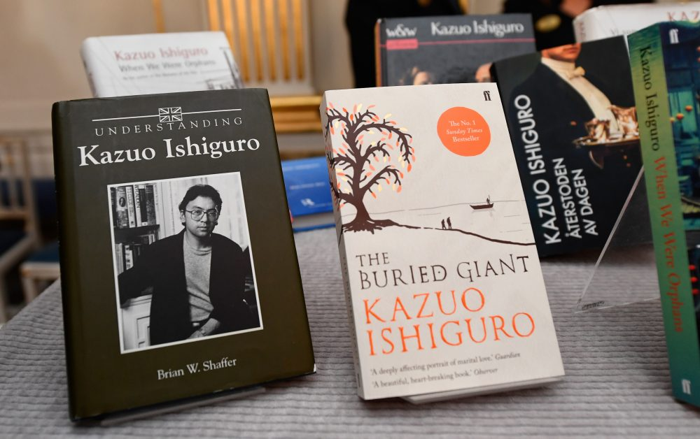 Books of British writer Kazuo Ishiguro are on display at the Swedish Academy in Stockholm, Sweden, where Ishiguro was announced as winner of the 2017 Nobel Prize in Literature on Oct. 5, 2017. (Jonathan Nackstrand/AFP/Getty Images)