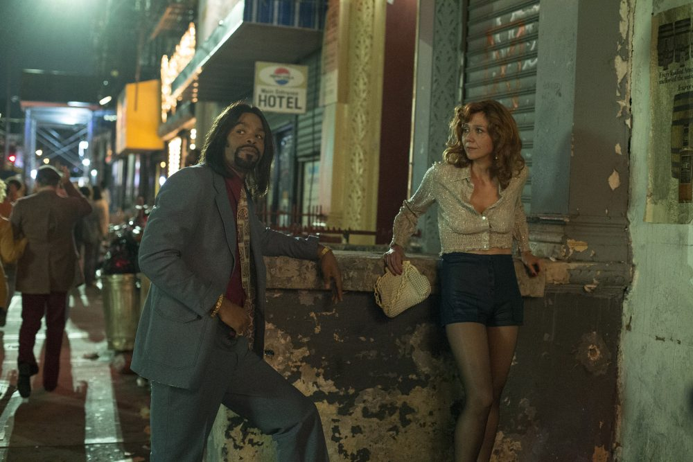 """Method Man (left) and Maggie Gyllenhaal in a still from HBO's """"The Deuce."""" (Courtesy Paul Schiraldi/HBO)"""