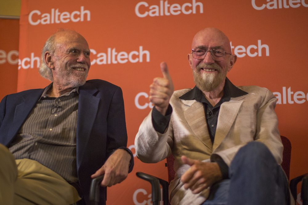 Barry Barish (left) and Kip Thorne address a press conference at the California Institute of Technology after receiving the 2017 Nobel Prize in Physics on Oct. 3, 2017, in Pasadena, Calif. Barish and Thorne were among seven Americans to win Nobel Prizes in science this year.  (David McNew/Getty Images)