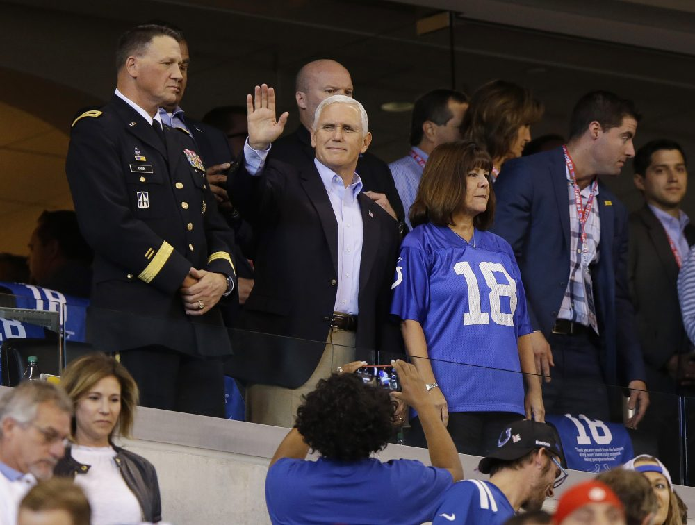 Vice President Mike Pence waves to fans before an NFL football game between the Indianapolis Colts and the San Francisco 49ers, Sunday, Oct. 8, 2017, in Indianapolis. (Michael Conroy/AP)
