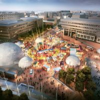 A rendering of The HUB, the home base of HUBweek in Boston's City Hall Plaza. (Courtesy HUBweek)