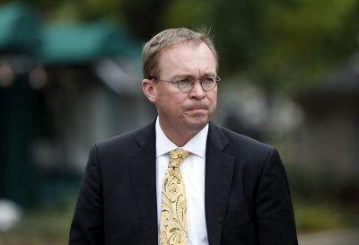 In this Wednesday, Sept. 13, 2017, file photo, Director of the Office of Management and Budget Mick Mulvaney departs after a television interview at the White House, in Washington. (Alex Brandon, File/AP)