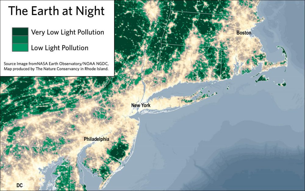 A map showing areas of low and very low light pollution along the coast. (Courtesy The Nature Conservancy Of Rhode Island)