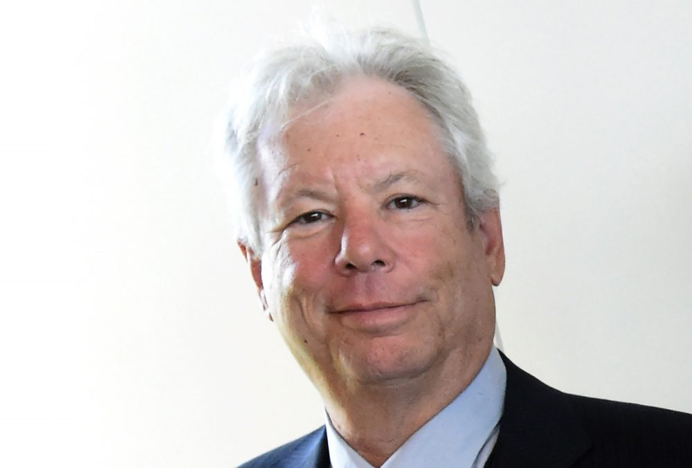 U.S. economist Richard Thaler on June 22, 2014 after he was awarded the 2014 Global Economy Prize during the award ceremony in Kiel, Germany. Thaler won the Nobel Economics Prize on Oct. 9, 2017 for his pioneering work on the psychology of economics, the jury said. (Carsten Rehder/AFP/Getty Images)