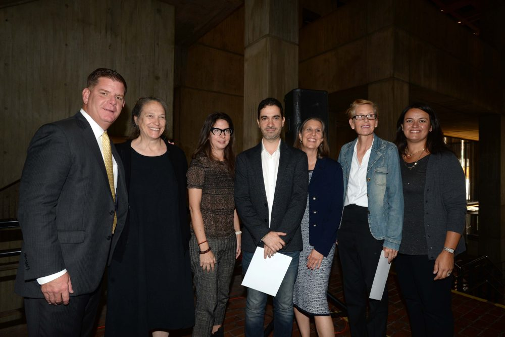 Mayor Marty Walsh, Marilyn Arsem, Michelle Fornabai, Dariel Suarez, Chief of Arts and Culture Julie Burros, Mary-Jane Doherty and Councilor-At-Large Annissa Essaibi George. (Courtesy City of Boston)