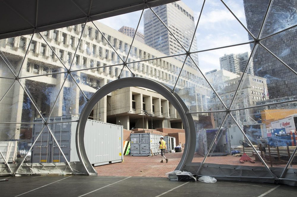 From the inside of an under-construction geodesic dome on City Hall Plaza. (Robin Lubbock/WBUR)