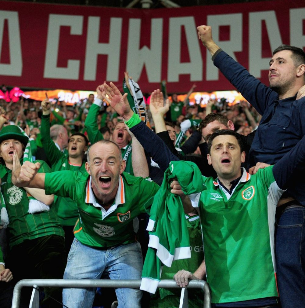 Fans of Ireland celebrated their team's victory over Wales. (Harry Trump/Getty Images)