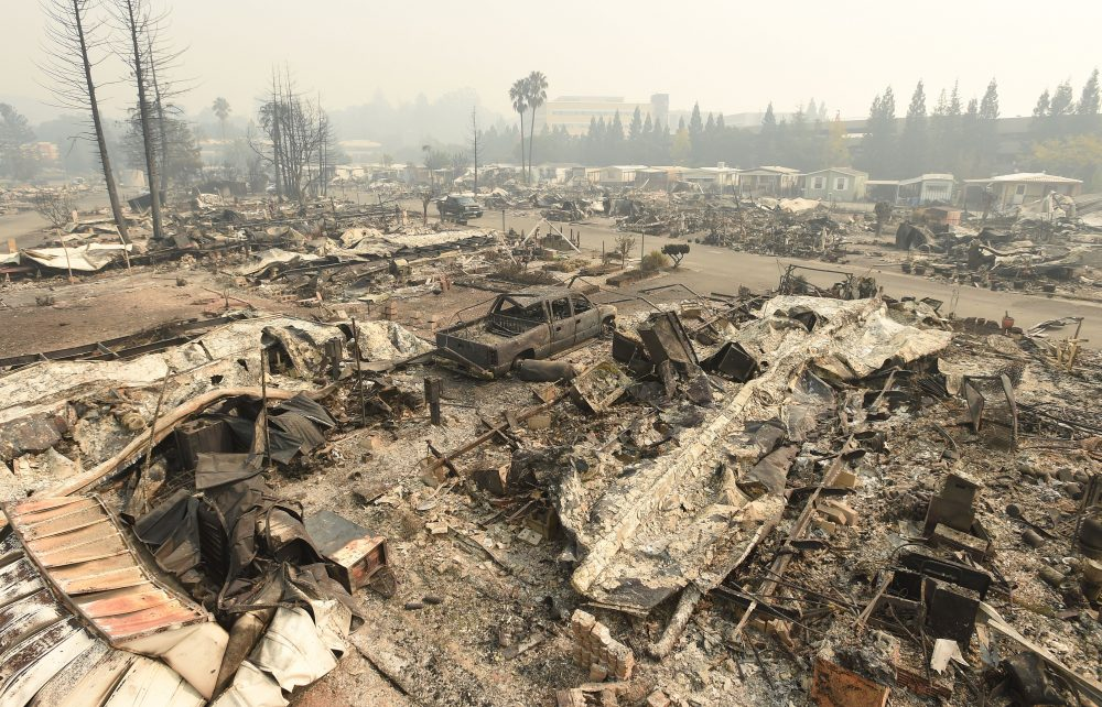A destroyed Journeys End Mobile Home Park is seen in Santa Rosa, Calif., on Oct. 10, 2017. (Josh Edelson/AFP/Getty Images)