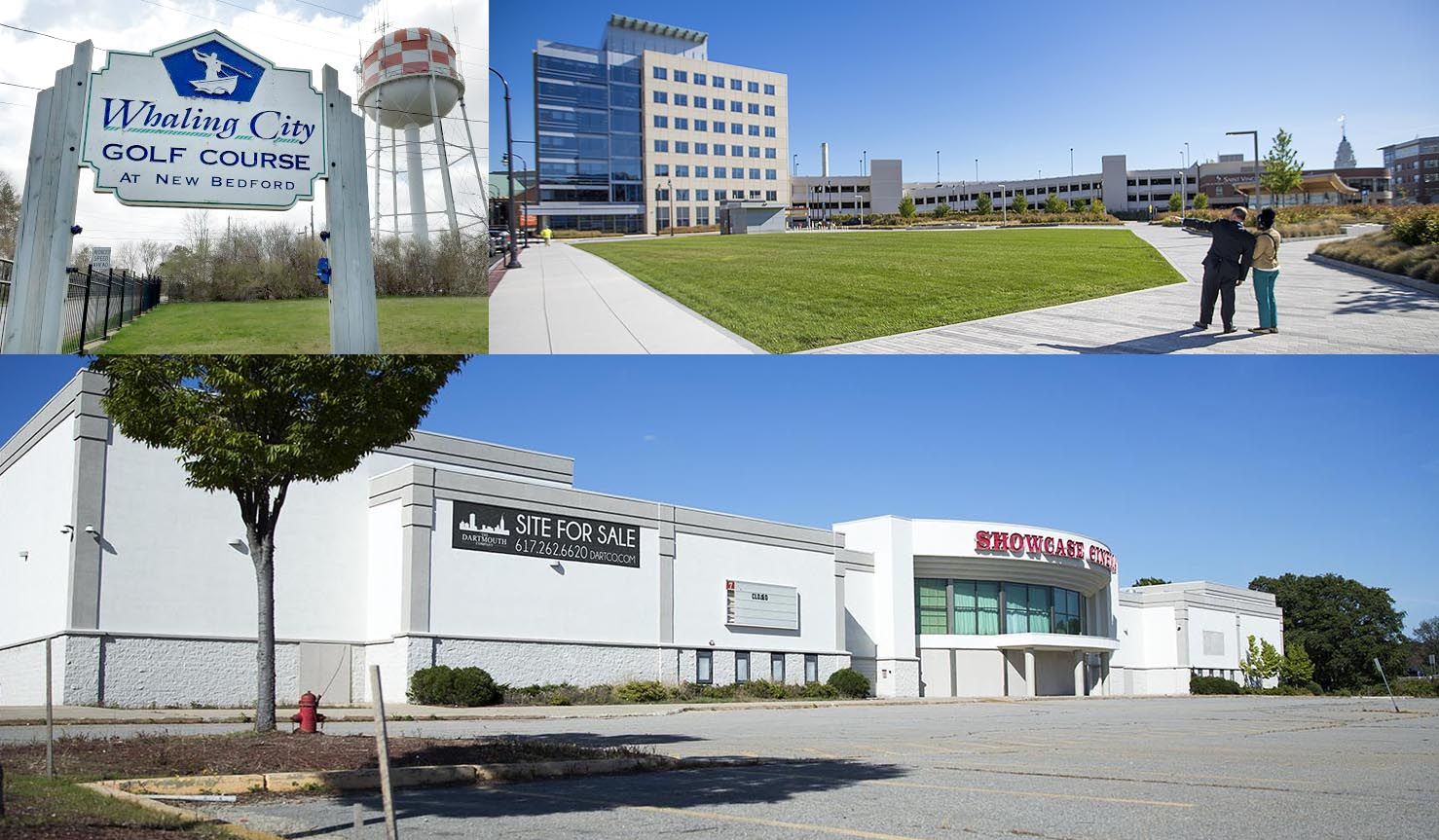 Officials in New Bedford, Worcester and Lawrence are among those bidding for Amazon's second headquarters. Here, clockwise from top left, are three locations in the three cities. (Courtesy Taylor Cormier, 1420 WBSM; Jesse Costa/WBUR; Robin Lubbock/WBUR)