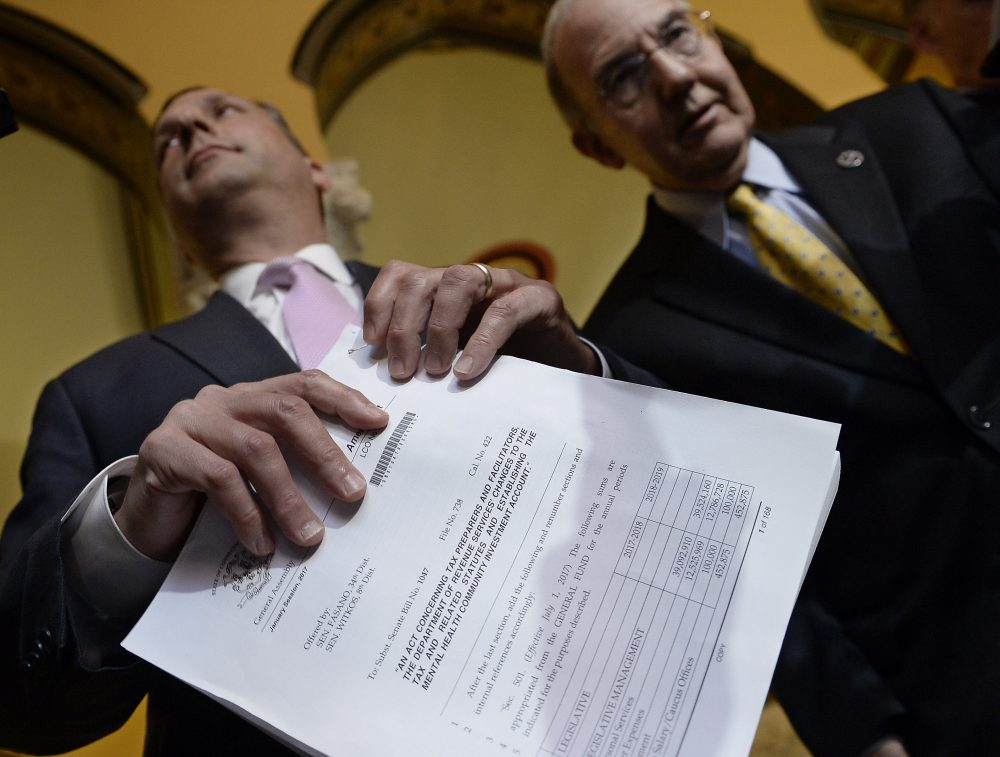 State Sen. Majority Leader Bob Duff, D-Norwalk, left, holds a GOP budget with State Democratic President Pro Tempore Martin M. Looney, D-New Haven, on the final day of session at the State Capitol, Wednesday, June 7, 2017, in Hartford, Conn. (Jessica Hill/AP)