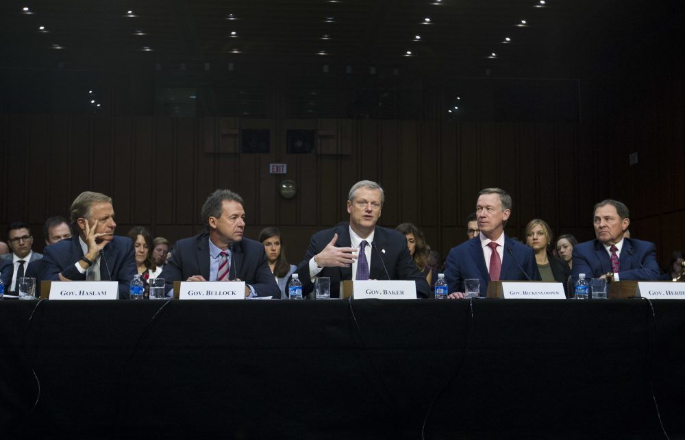 Governors from left; Bill Haslam of Tennessee, Steve Bullock of Montana, Charlie Baker of Massachusetts, John Hickenlooper of Colorado and Gary Herbert of Utah speak during the Senate Health, Education, Labor, and Pensions Committee hearing to discuss ways to stabilize health insurance markets, on Capitol Hill in Washington, Thursday, Sept. 7, 2017. (Jose Luis Magana/AP)