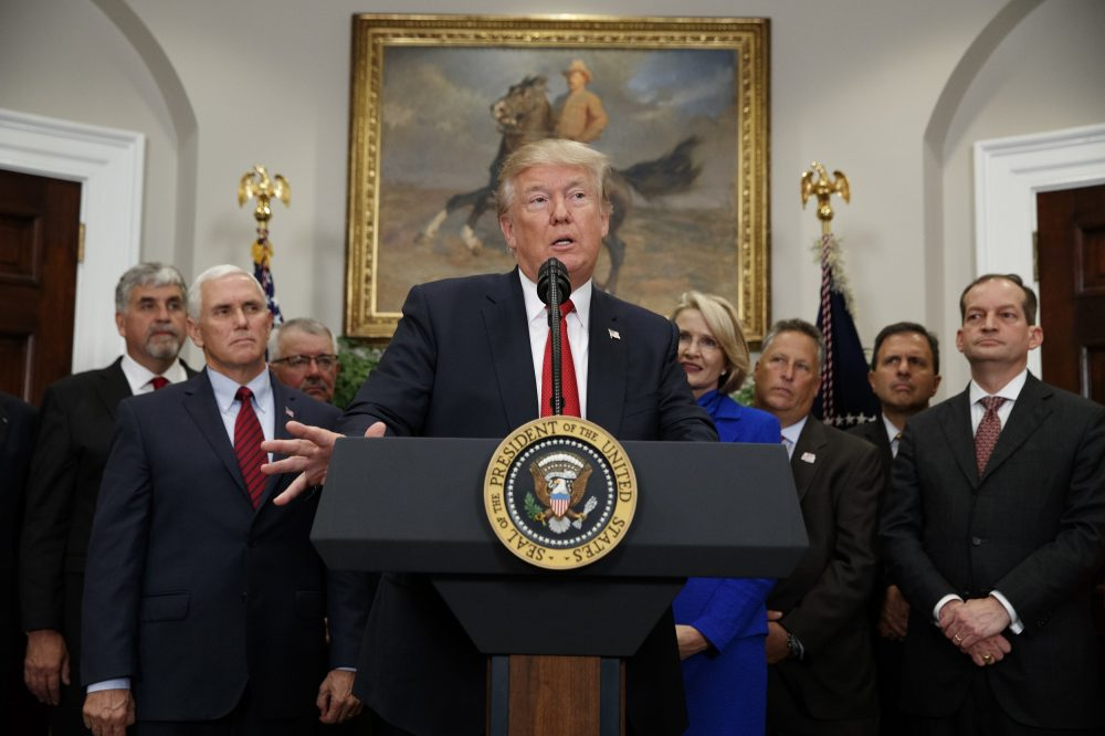 President Donald Trump speaks before signing an executive order on health care in the Roosevelt Room of the White House, Thursday, Oct. 12, 2017, in Washington. (AP Photo/Evan Vucci)