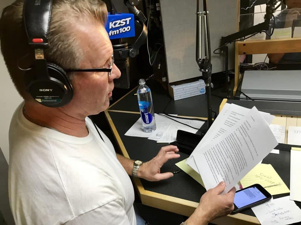 Broadcasting fire updates at KZST-FM. (Ninna Gaensler-Debs/KALW)