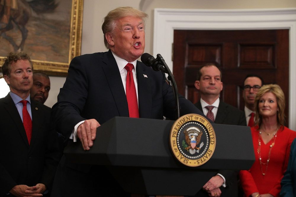 President Trump speaks during an event in the Roosevelt Room of the White House on Oct. 12, 2017, in Washington, D.C. (Alex Wong/Getty Images)