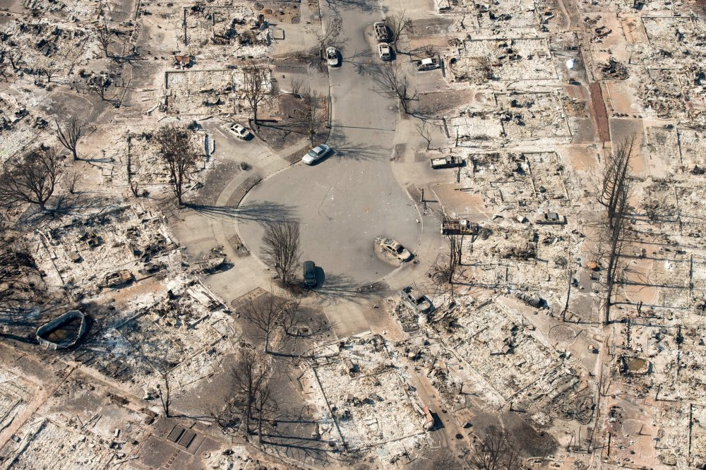 In this aerial view, burned properties are seen in Santa Rosa, Calif., on Oct. 12, 2017. (Josh Edelson/AFP/Getty Images)