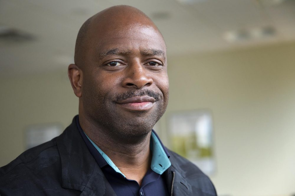 Leland Melvin, a former NASA astronaut and NFL player, at WBUR. (Robin Lubbock/WBUR)
