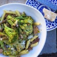 Kathy's sauteed broccoli with Italian sausage and penne. (Jesse Costa/WBUR)