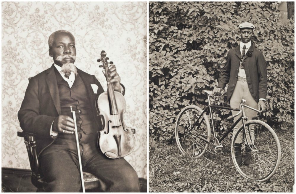 "William Bullard's portraits of David T. Oswell with a viola and Isaac ""Ike"" Perkins with his bicycle. (Courtesy Frank Morrill)"