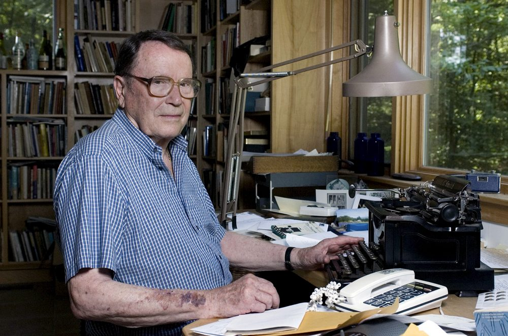 Poet Richard Wilbur poses for a photo at his home in 2006. (Nancy Palmieri/AP)