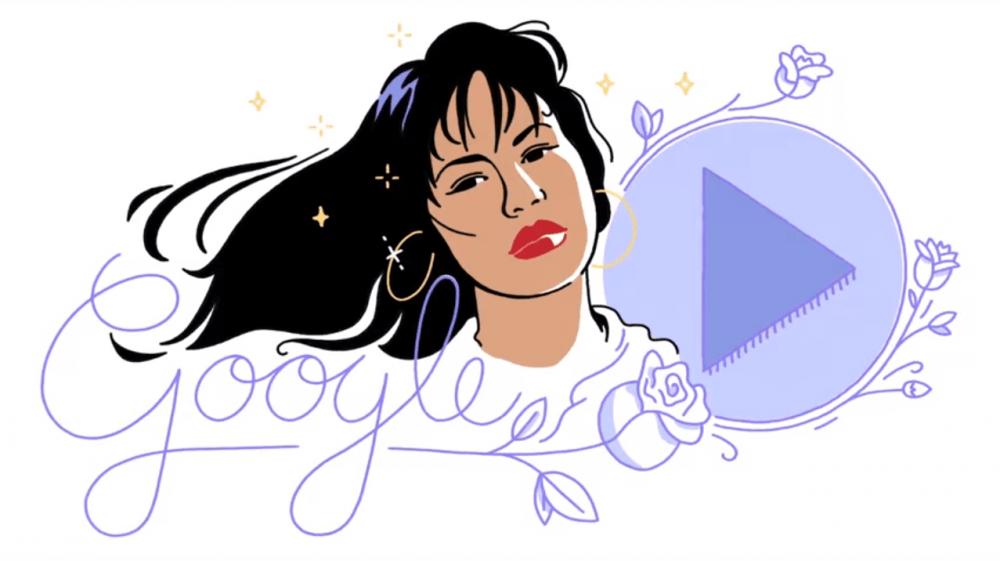 The Google Doodle of Selena Quintanilla on Oct. 17, 2017. (Courtesy Google)